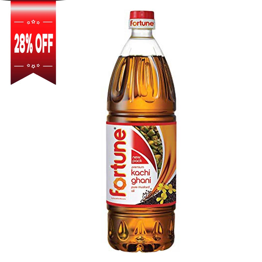 Fortune Kachi Ghani Pure Mustard Oil bottle
