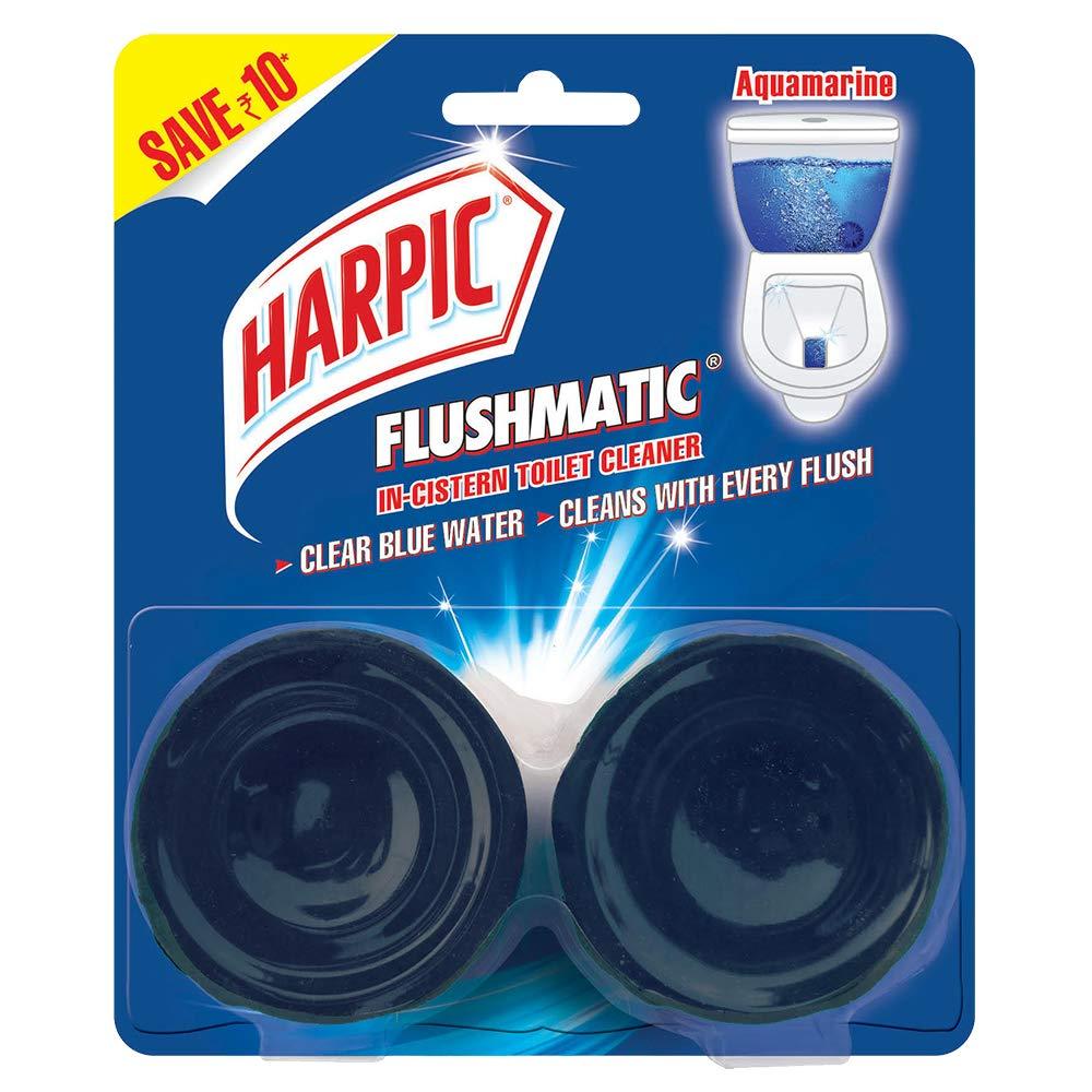 Harpic Flushmatic In-Cistern Bathroom Cleaner Blocks, Aquamarine