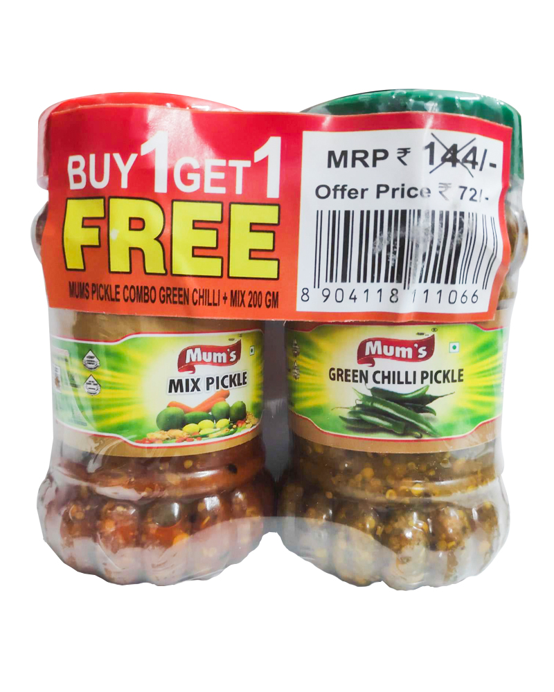 Mum's Mix Pickle + Green Chilli Pickle Buy 1 Get 1Free