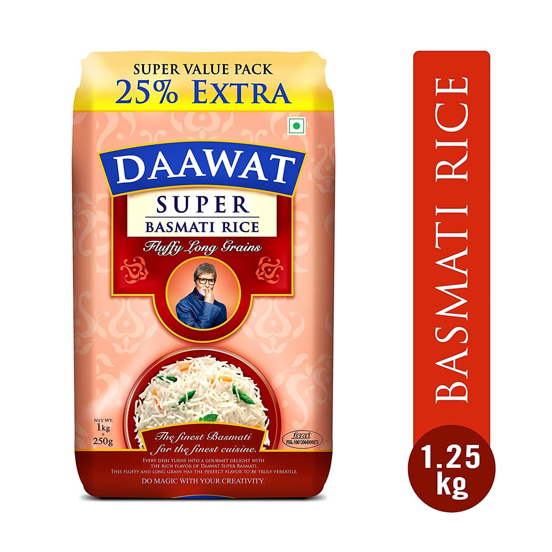 Daawat Super Basmati Rice (1kg+250gm free)
